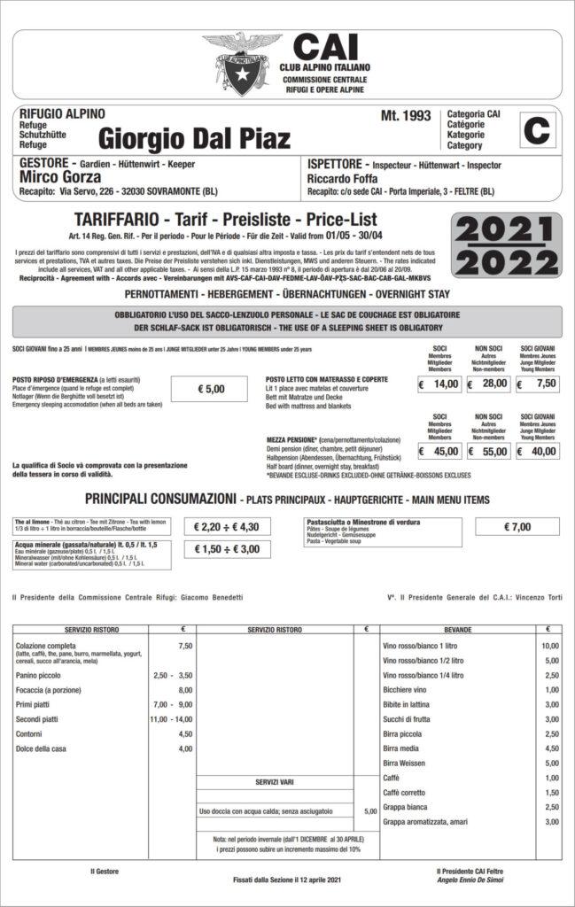 Tariffario Dal Piaz 2021-2022